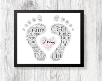 Personalised BABY FEET Shower Word Art Print Gift Keepsake Birthday Christmas Perfect Baby Shower Gift Love