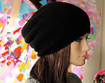 CAP / HAT slouch Merino/Cashmere black knit