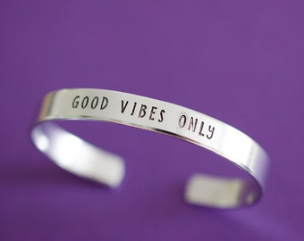 Good Vibes Only Cuff Bracelet - Skinny 1/4 inch