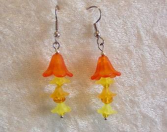 Orange Yellow Earrings, Flower Earrings, Frosted Acrylic Earrings, Buttercup Earrings, Yellow Earrings, Orange Earrings, Clip ons Available