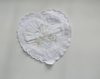 Vintage White Embroidered Heart Sachet