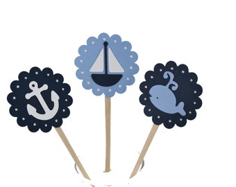 12  Navy Sailboat Cupcake Toppers / Nautical Invitation / Blue Whale Baby Shower / Nautical Party / Boy Baby Shower / Whale Cupcake Toppers