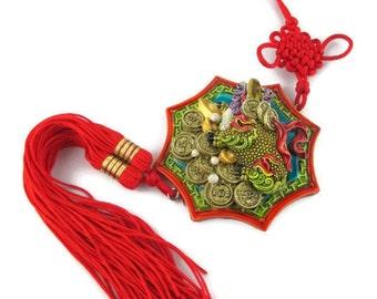 "Vintage 15"" Heavy Lucite Feng Shui Money Frog Mystic Knot Silk Cord  Hanger"