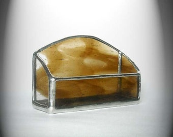 Brown And Clear Stained Glass Business Card Holder