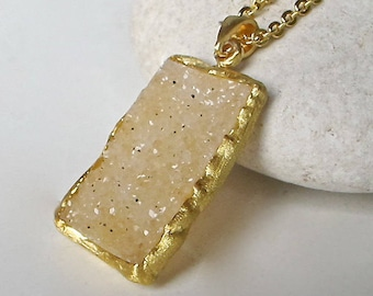 Beige Druzy Necklace Gold- Raw Rough Boho Necklace- Natural Raw Crystal Necklace- Statement Stone Necklace- Rectangle Bar Druzy Necklace