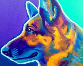 German Shepherd, Pet Portrait, DawgArt, Dog Art, German Shepherd Art, Pet Portrait Artist, Colorful Pet Portrait, Art, Art Prints