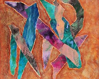 """Peinture abstraite en techniques mixtes sur toile. """"Déchirement"""", tableau mixed media, collage et acrylique, rose, bleu, vert, marron - art"""