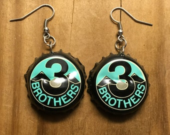3 Brothers Brewing Bottle Cap Earrings