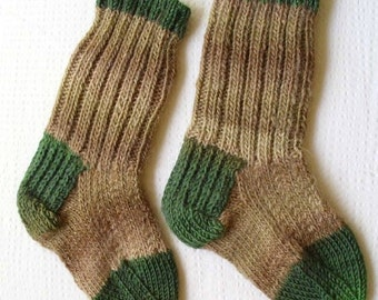 "Wool socks hand knit. Foot length 8"". Variegated beige, brown, forest green. Ready to ship"