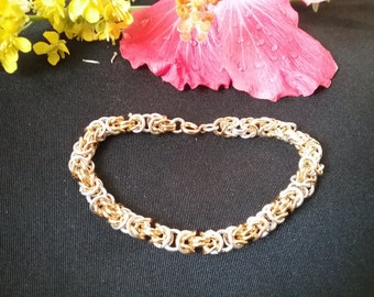 Byzantine chainmaille bracelet sterling silver and gold plated 7 in