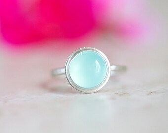 Blue Chalcedony Ring, Light Blue Aqua Chalcedony Ring, Light Blue Gemstone Ring