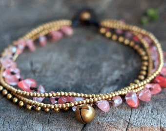 Cherry Quartz Brass Chain Anklet