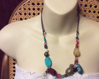 Vintage 1970s turuqoise, quartz, glass, chalcedony and more necklace.