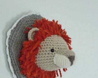Lion Head Trophy / Crochet trophy/ Crochet lion/ Crochet ornament/ Lion trophy/ Wall art/ Crochet wall decor/ lion amigurumi/ lion plush