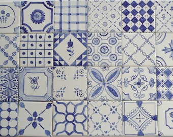 Blue and White French Country majolica patchwork ceramic tiles 4 x 4