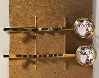 Mamzelle Melodie on gold Bobby Pin Set