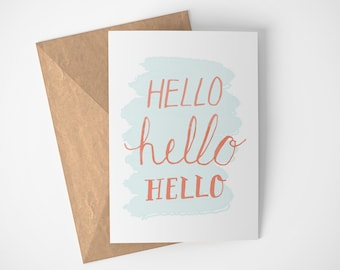 Blank Cards, Hello Card, Just Saying Hi Card, Hand Made Cards, Friendship Card, Long Distance Card, Best Friend Card, Miss You Card