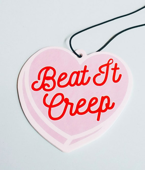 Beat It Creep Pink and Red Heart Funny Air Freshener