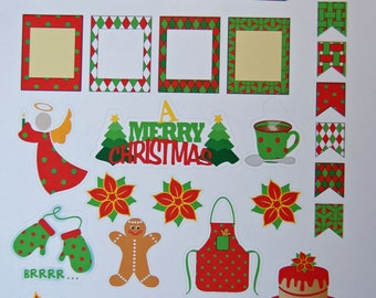 Christmas Holiday Planner Sticker Sheet - Pre Printed Planner Stickers - Planner Stickers - Planner Accessories