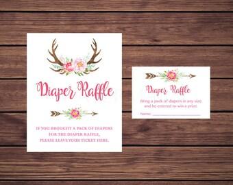 Boho Diaper Raffle Tickets, Baby Shower Diaper Raffle Insert Card, Floral Deer Antler Instant Download  235 Printable