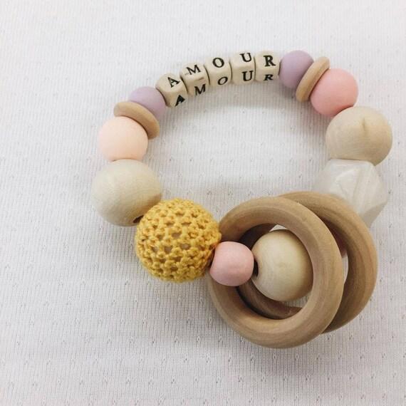 Customizable rattle - Baby Girl Baby Teether - Handmade - soft Cactus