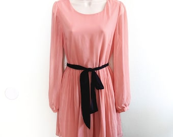 Vintage Rose Chiffon Midi Dress with Tie Belt - S/M