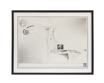 Bruno Schmidt Testore Framed Pencil on Paper Surrealist Drawing