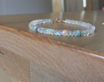 Crystal moonstone, moonstone bracelet, rainbow moonstone bracelet, fine jewelry, Opal bracelet, Australian Opal, 14k white gold, moonstone