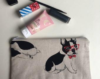 French Bulldog Zipper Pouch Frenchie Pencil Pouch Cosmetic Pouch Frenchie Bag Make Up Pouch Frenchie Makeup Bag Dog Zipper Bag Dog Cosmetic