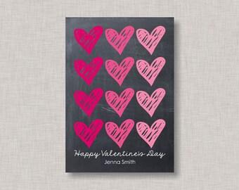 Valentine Classroom Cards,Chalkboard Valentine Card,Ombre Valentine Card,Classroom Valentine Card,Heart Valentine Card,Kids Valentine Cards