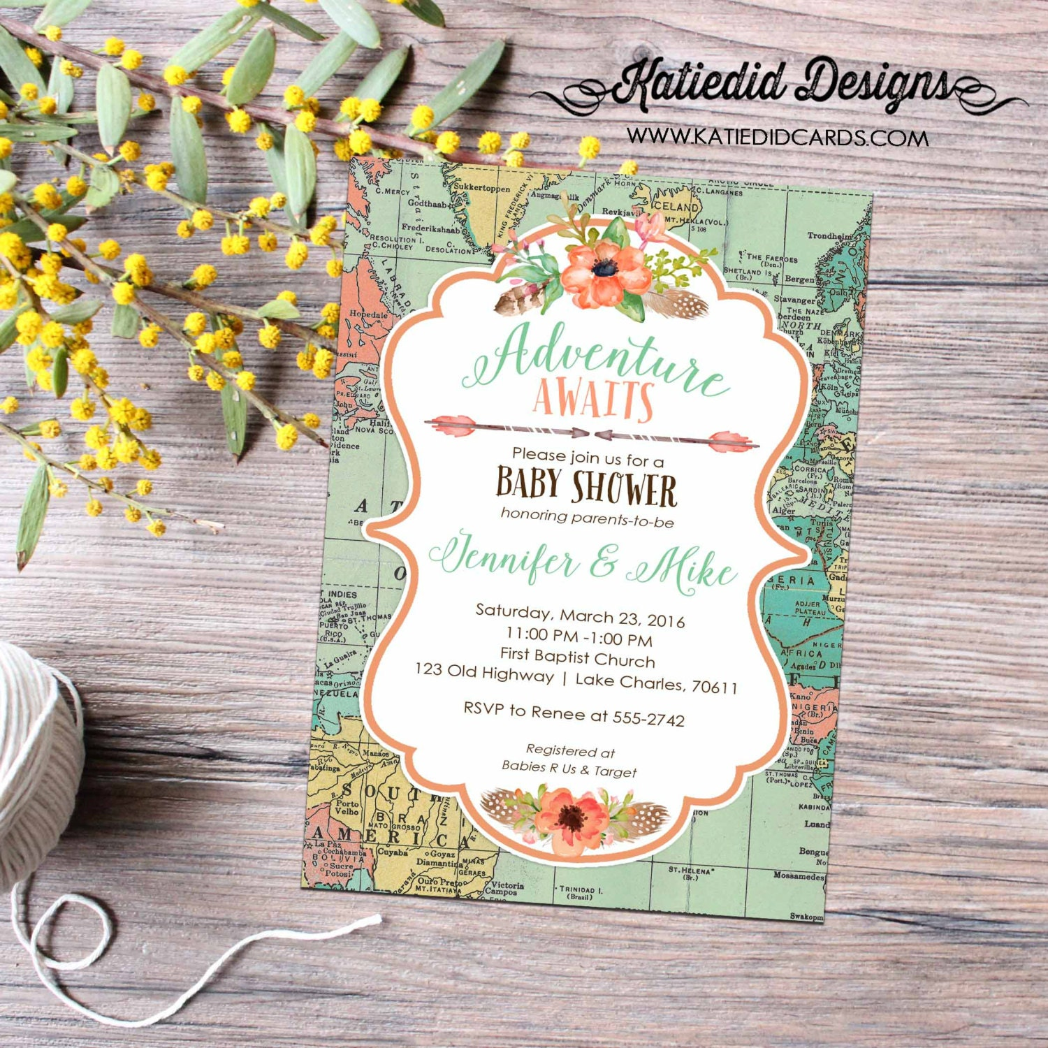 travel theme miss to mrs couples shower invitation world map BOHO ...