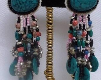 Vintage Native American Inspired Beaded Earrings