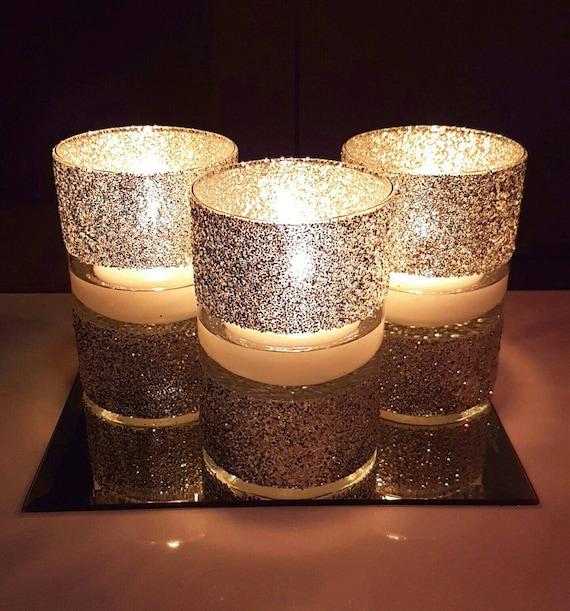 Shinny Floating Centerpiece: Wedding Centerpiece Floating Candle Centerpiece Glitter