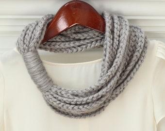 Chain Loop Scarf, Chain Scarf, Soft, Bulky Yarn, Color Choice, Crocheted, Women's, Circle Scarf