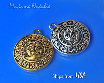 Sun Moon Pendants 35x30mm (2pc), Zodiac Pendant, Antique Silver or Gold Sun Moon Pendants, Celestial Pendant, Sun Moon Face Circle Pendant