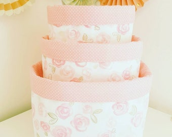 Coral pink fabric storage basket. Watercolor flowers on white. Nappy basket, toy storage, nursery decor, kids room. Baby shower gift.