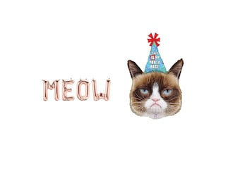Meow Rose Gold Letter Balloons,Meow Rose Gold Balloons,Meow Letter Balloons,Meow Balloons,Meow Birthday,Meow Birthday Theme,Cat Balloon