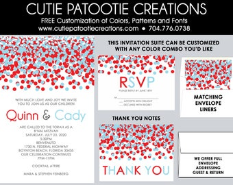 Bnai Mitzvah Invitations, B'nai Mitzvah Invitation, Envelope Addressing, Reply Card, Save the Date, Thank You Notes, Custom Colors Available