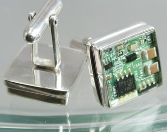 Computer Circuit Board Sterling Silver Cufflinks
