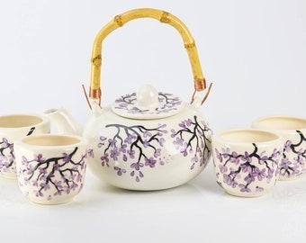 Teapot Set - Bamboo Handle - Purple Cherry Blossom Design - Hand Painted