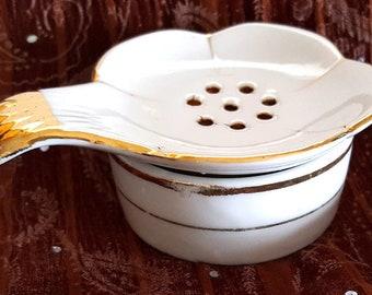Porcelain Tea Bag Drainer 2 Piece Vintage White Glaze Gild Ceramic Tea Bag Holder English Traditional Cottage Chic Tea Bag Rest Gift Her Mom