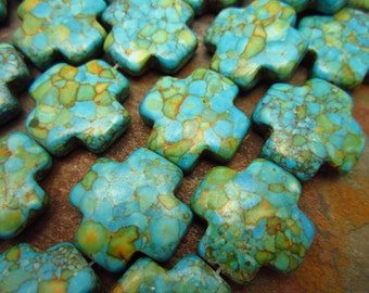 Turquoise Blue Mosaic Magnesite Cross, Beads 20x20mm, 10 pc