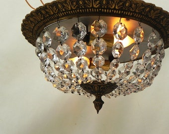 Vintage Beaded Crystal Glass Flush Mount Ceiling Light Dome Shape French Country Chandelier #1
