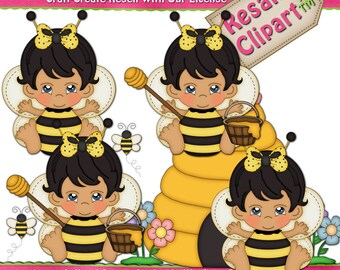 Baby Girl Bumble Bee 1 Clipart (Digital Download)
