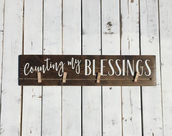 Rustic Wood Photo Hanger | Counting My Blessings | Picture Hanger | Wood Photo Display | Housewarming Gift | Family or Grandparent's Gift