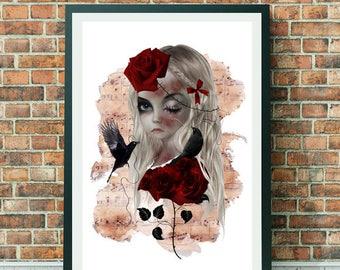 Goth Girl Portrait | Goth Girl Art Print | Portrait Print | Gothic Girl Art | A3 Art Print | Wild Rose