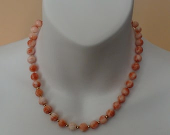 Salmon colour natural coral necklace