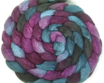 Handpainted Merino Silk 50/50 Wool Roving - 4 oz. TWILIGHT - Spinning Fiber