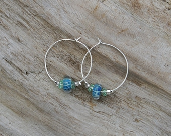 Light Blue Teal Blue  Seafoam Lampwork Bead Sterling Silver Hoop Earrings