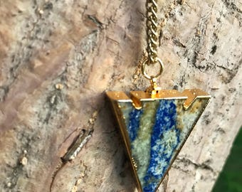 LAPIS LAZULI Arrowhead Necklace on Antique Gold Chain | Natural Polished Blue Lapis Lazuli Arrow Pendant, Crystal Healing Necklace